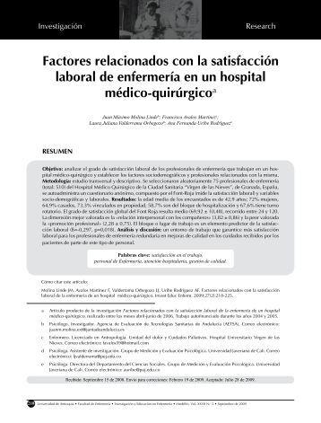 Factores relacionados con la satisfacción laboral de enfermería en ...