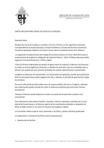 CARTA CIRCULAR PARA TODOS LOS FIELES DE LA DIÓCESIS