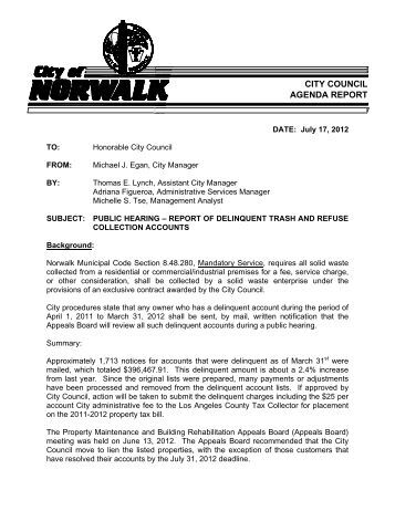 delinquent trash and refuse collection accounts - City of Norwalk