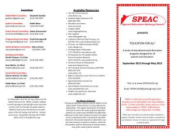 SPEAC brochure for the 2012-13 school year - SPEACofUD.org