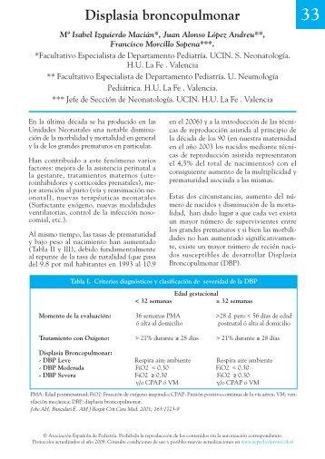 Displasia broncopulmonar - Asociación Española de Pediatría
