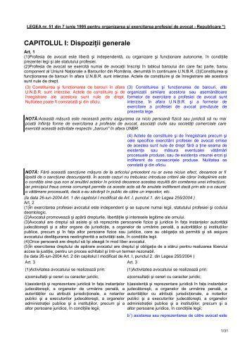 CAPITOLUL I: Dispoziţii generale - Baroul Satu Mare