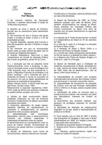 Questões Humanas 2º ano - Colégio Alexander Fleming