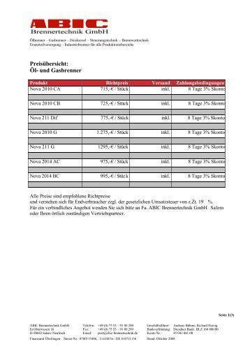 Preisübersicht (pdf, 113 Kbyte) - ABIC Brennertechnik Gmbh