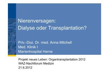 Dialyse oder Transplantation?
