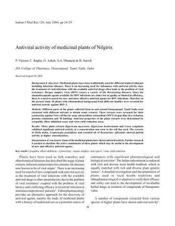 Antiviral activity of medicinal plants of Nilgiris - Indian Council of ...