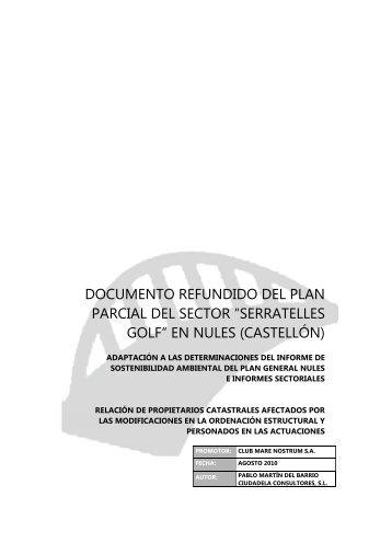 """documento refundido del plan parcial del sector """"serratelles golf"""""""