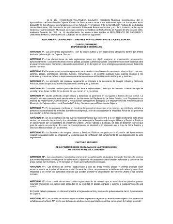 Reglamento de Parques y Jardines para el Municipio - Imip Cajeme