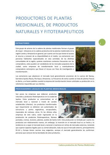 productores de plantas medicinales, de productos naturales y