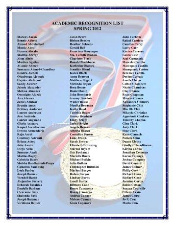 ACADEMIC RECOGNITION LIST SPRING 2012 - El Centro College