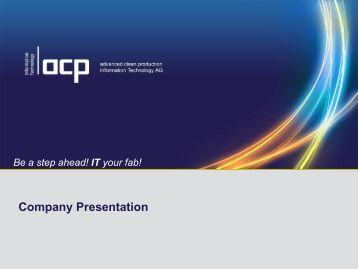 acp-IT Company Presentation - ACP Information Technology AG