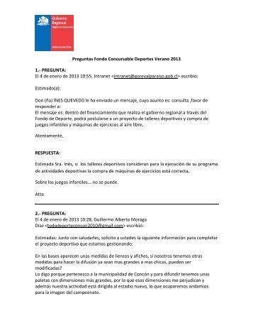Preguntas Fondo Concursable Deportes Verano 2013 - Gobierno ...
