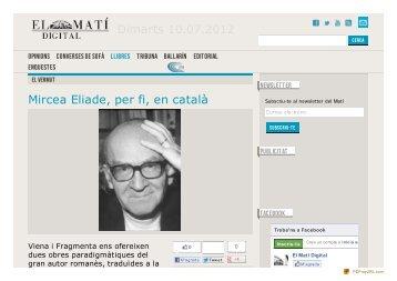 El Matí Digital - Mircea Eliade, per fi, en català - Fragmenta Editorial