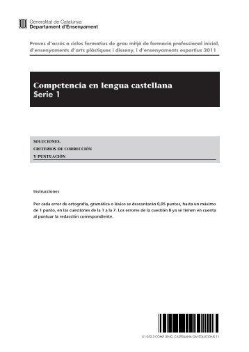 Competencia en lengua castellana Serie 1 - Institut Milà i Fontanals