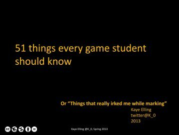 51 things every game student should know