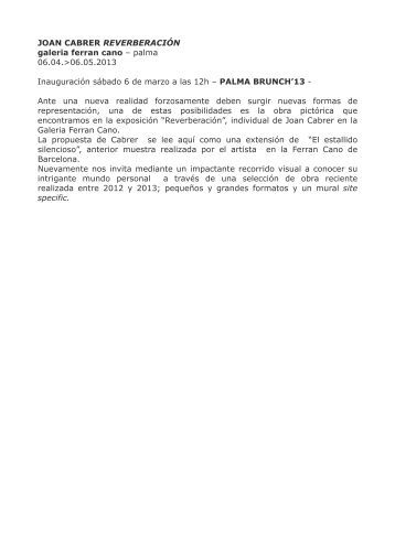 Nota de Premsa Galería Ferran Cano - Art Palma Brunch
