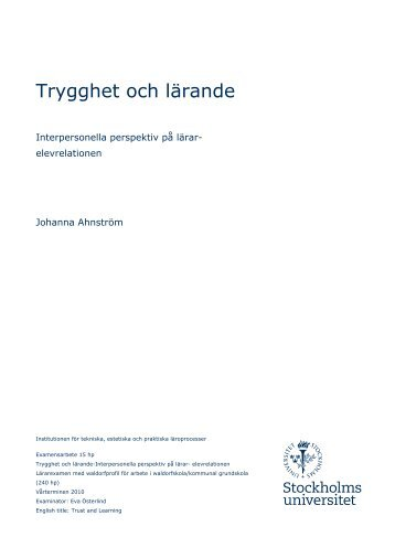 Johanna Ahnström Trygghet och lärande - Interpersionella ... - WLH