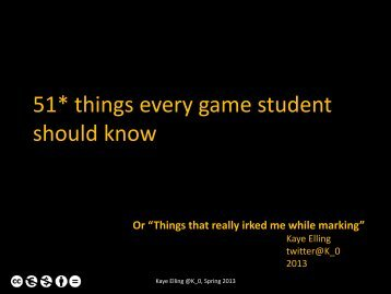 51* things every game student should know