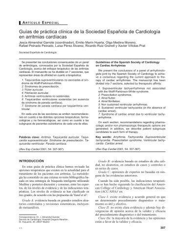 Arritmias cardiacas guías clínicas SECAR 2001