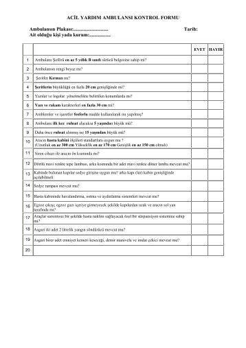 Acil Yardım Ambulansı Kontrol Formu