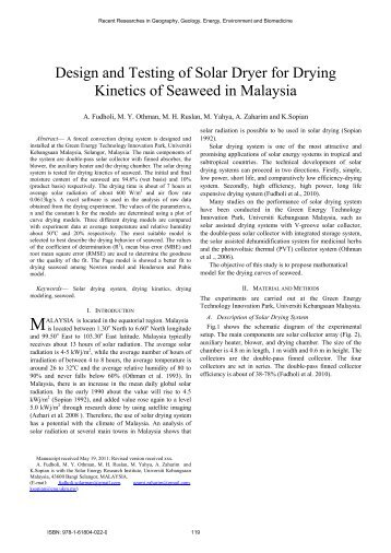 Design and Testing of Solar Dryer for Drying Kinetics of ... - Wseas.us