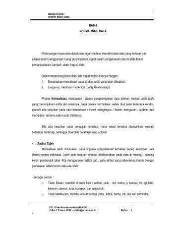 BAB 4 NORMALISASI DATA Perancangan basis data ... - Blog Staff UI