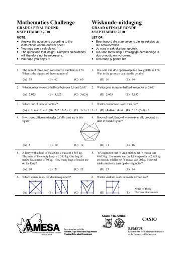 Mathematics Challenge Wiskunde-uitdaging - AMESA