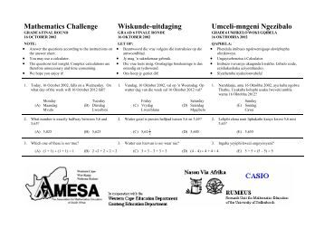 Mathematics Challenge, Grade 4 First Round - AMESA