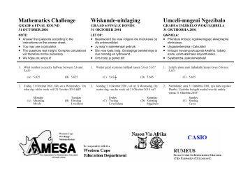 Mathematics Challenge, Grade 6 Final Round 2000 - AMESA