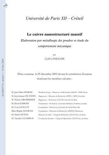 [tel-00007715, v1] Le Cuivre nanostructuré massif : élaboration par ...