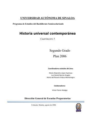 Historia universal contemporánea Segundo Grado Plan 2006
