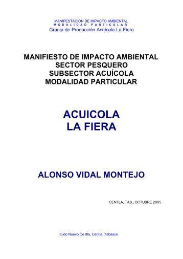 """Granja de Producción Acuícola """"La Fiera"""" - sinat - Semarnat"""