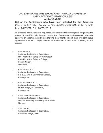 dr. babasaheb ambedkar marathwada university ugc- academic staff ...