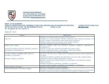 prof. lucía romero temas y objetivos para primera y segunda ...
