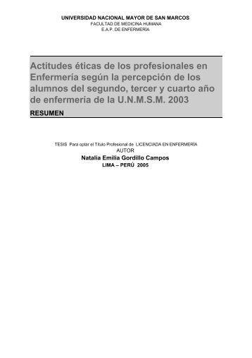 Actitudes éticas de los profesionales en Enfermería ... - Cybertesis