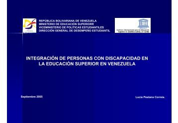 integración de personas con discapacidad en la educación superior ...