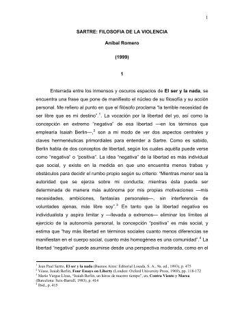 SARTRE Y LA FILOSOFIA DE LA VIOLENCIA - Aníbal Romero