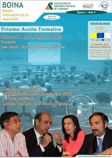 BOINA 110 Abril 2013 - Asociación de Asesores Fiscales de Canarias