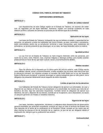 CÓDIGO CIVIL PARA EL - Tribunal Superior de Justicia de Tabasco