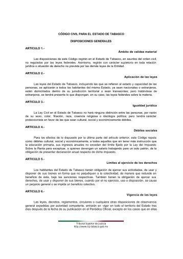 codigo civil del estado de Tabasco