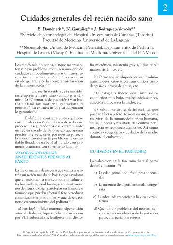 Cuidados generales del recién nacido sano - Asociación Española ...