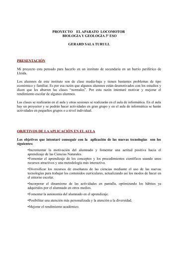PROYECTO EL APARATO LOCOMOTOR BIOLOGIA Y GEOLOGIA ...