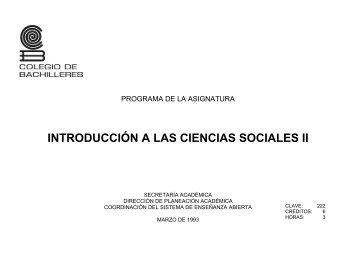 Introducción a las Ciencias Sociales II - Colegio de Bachilleres