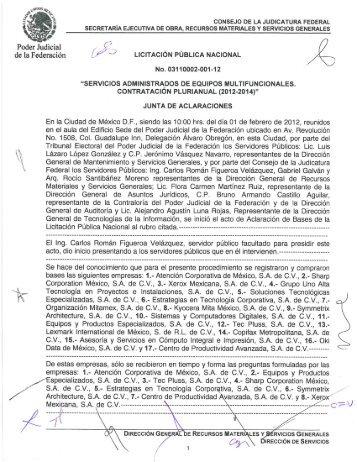 ver Acta de Aclaraciones - Consejo de la Judicatura Federal