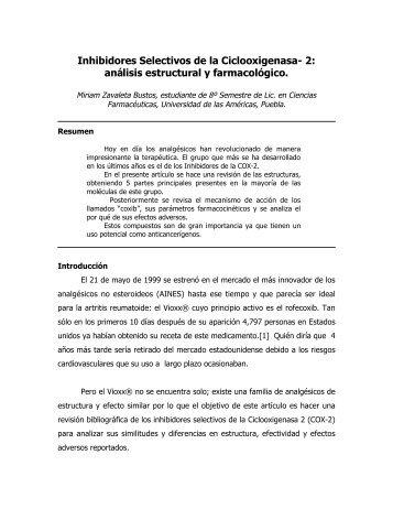 Inhibidores Selectivos de la Ciclooxigenasa- 2: análisis estructural y ...