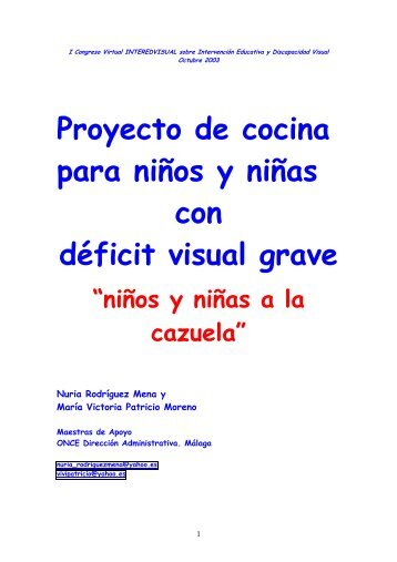 Proyecto de cocina para ni os y ni as con d ficit visual grave for Proyecto cocina infantil