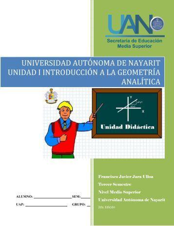 Unidad didáctica I Introducción a la Geometría Analítica - jaramaticas