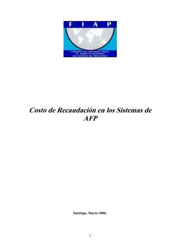 Costo de Recaudación en los Sistemas de AFP - FIAP