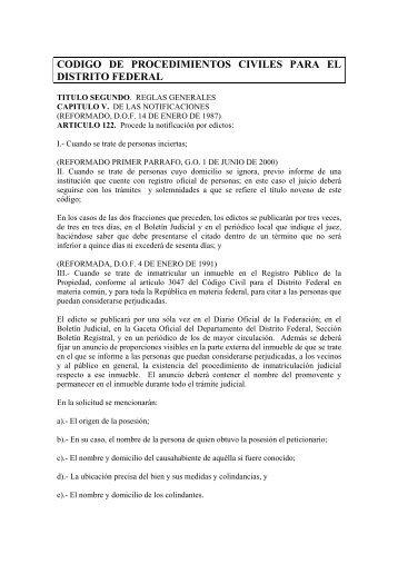 codigo de procedimientos civiles para el distrito federal - Tribunal ...