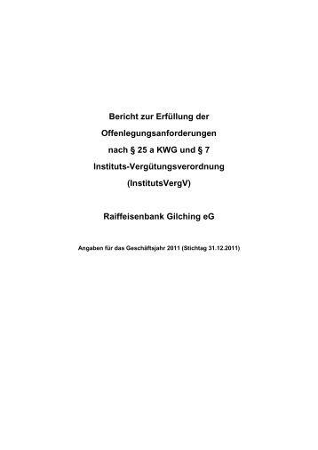 InstitutsVergV - Raiffeisenbank Gilching eG